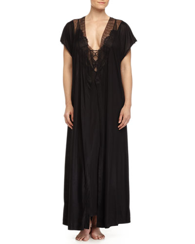 Sophia Lace-Inset Long Robe & Gown, Black