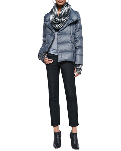 Puffer Two-Way Zip Jacket, Slim Stretch Ankle Jeans, Space-Dyed Chainette ...