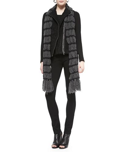 Alpaca-Blend Asymmetric Zip-Front Vest, Slim Jersey Top, Ponte Skinny Ankle ...