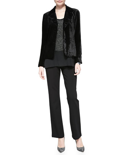 Wash Velvet Jacket, Sequined Rivulet Silk Tank & Boot-Cut Ponte Pants