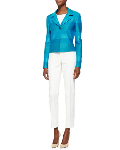 Ombre Stripe Knit Jacket, Rib Knit Bateau Neck Shell, Stretch Micro Ottoman ...