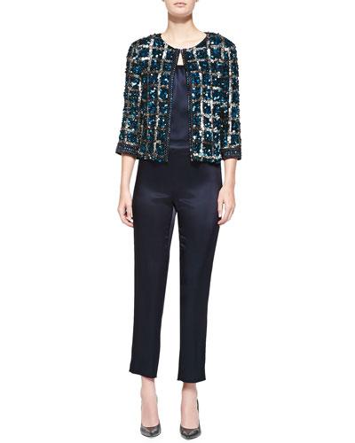 Hand-Beaded Vintage Plaid Jacket, Liquid Satin Tank & Side-Zip Cropped Pants