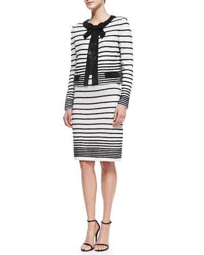 Eyelash Degrade Stripe Knit Jacket, Skirt & Liquid Satin Tank