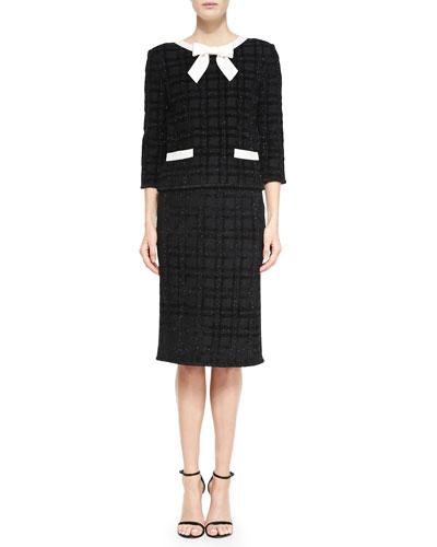 Tonal Velvet Plaid Eyelash Knit Jacket & Skirt