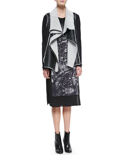 Asymmetric-Zip Leather/Shearling Vest & Long-Sleeve Print-Front Shift Dress