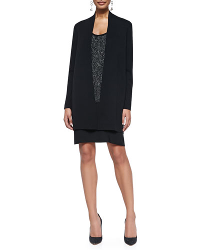 Straight Long Washable Crepe Cardigan & Sequined Racerback Dress