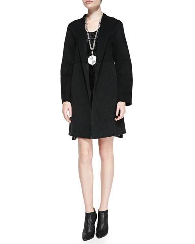 Double-Face Knee-Length Coat & Sleeveless Iridescent Velvet Dress, Petite