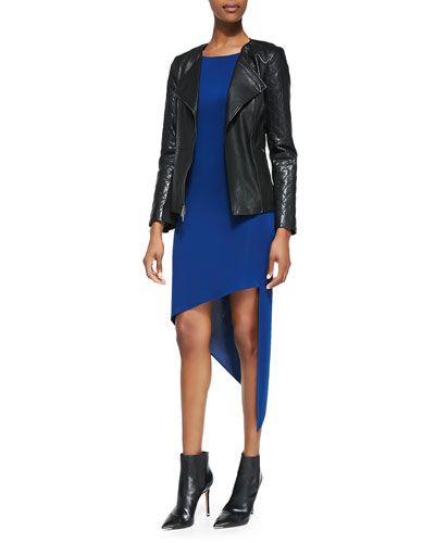 Lambskin Zip-Front Moto Jacket & Asymmetric Long-Sleeve Tunic
