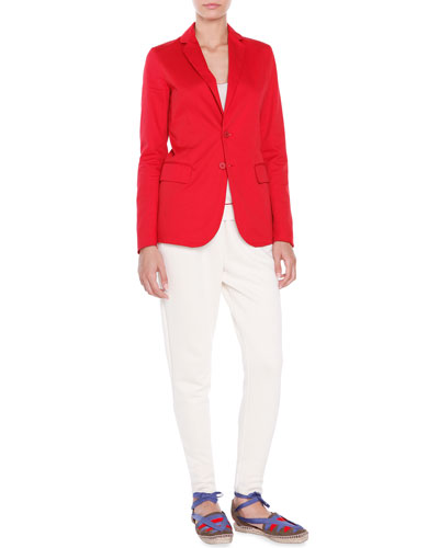 Two-Button Tailored Jacket, Silk Red-Trim Tank Top & Double-Fleece Jog Pants