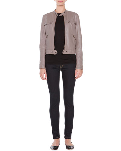 Leather Zip-Front Jacket, Jersey Cap-Sleeve Top & Low Rise Straight-Leg ...
