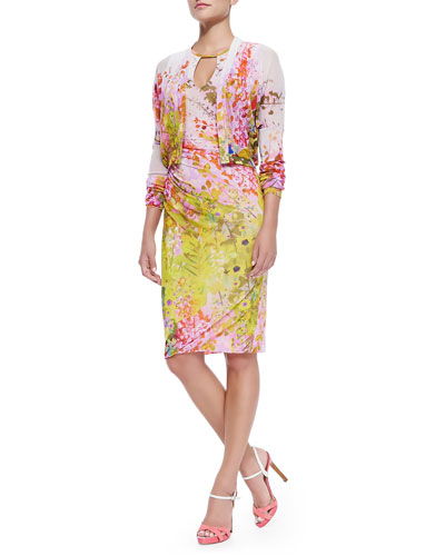Button-Front Floral Cardigan & Sleeveless Fitted Floral-Print Dress