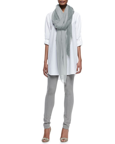 Long-Sleeve Oversized Button-Down Tunic, Fringed Woven Silk-Blend Scarf & ...