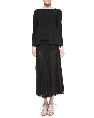 Boat-Neck Top W/ Open Peplum & Folded-Waist Broomstick Skirt