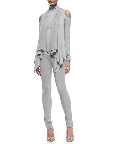 Cashmere Cold-Shoulder Cardigan & Long-Sleeve Cold-Shoulder Turtleneck Top