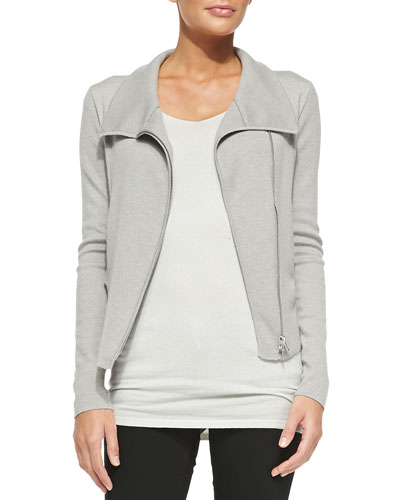 Fitted Asymmetric Zip-Front Jacket & Cap-Sleeve Tunic w/ Ruched Sides