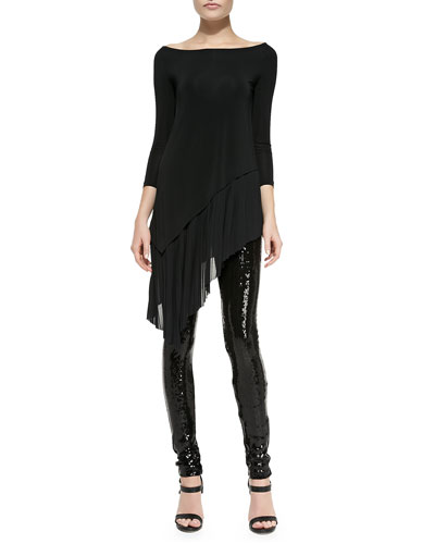 3/4-Sleeve Asymmetric-Hem Tunic & Sequined-Front Skinny Pants
