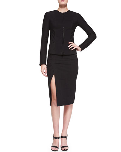 Collarless Zip-Front Jacket & Straight Midi Skirt w/ Side Slit