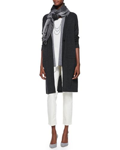 Merino Wool Sleeveless Cardigan, Wool Vest, Silk Asymmetric Draped Shell, ...