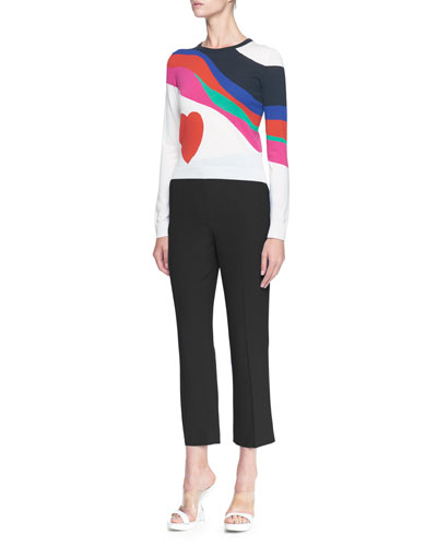 Multicolor Heart Crewneck Sweater &Cropped Leaf Crepe Pants