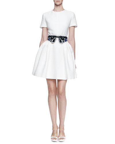 Floral Pique Full Dress and Bustino Floral-Print Leather Belt