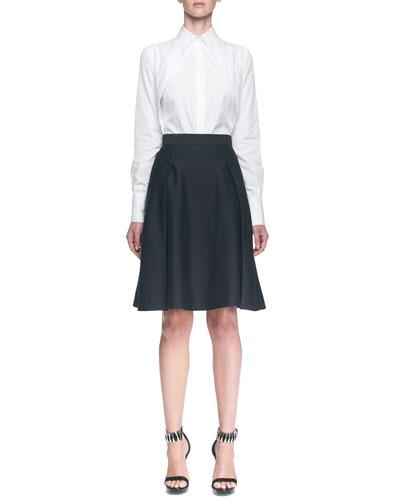 Long-Sleeve Hidden-Placket Cutaway Blouse & A-Line Side Button Overlay Skirt