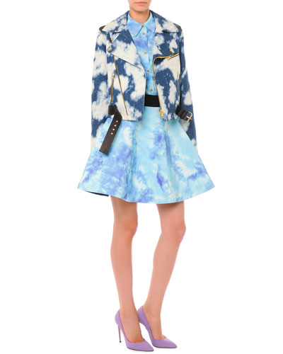 Bleached Cloud-Print Moto Jacket, Short-Sleeve Tie Dye Blouse & Tie Dye ...