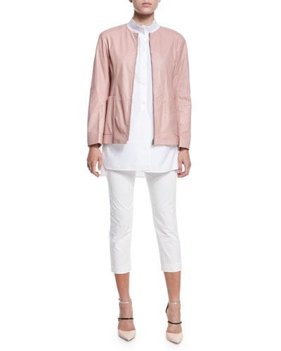 Reversible Nylon/Leather Jacket, Melange Knit Sweater, One-Pocket Blouse & ...
