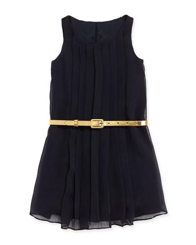 Sleeveless Pleated Chiffon Dress