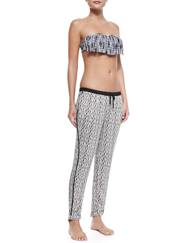 Outlaw Dolly Fringe Swim Top & Outlaw Printed Pull-On Coverup Pants