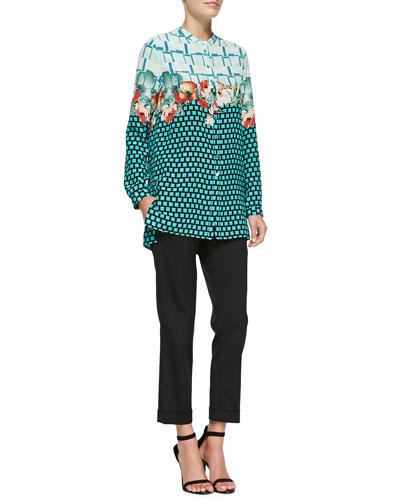 Plaid, Floral & Grid-Print Silk Blouse & Cuffed Cigarette Capri Pants