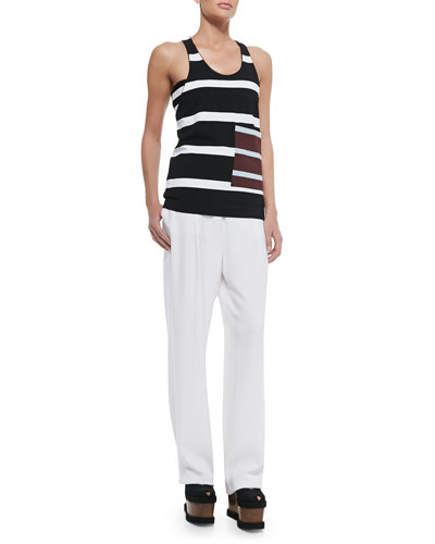 Striped Contrast Pocket Tank Top, Striped Stretch Bandeau, Soft Pleated ...