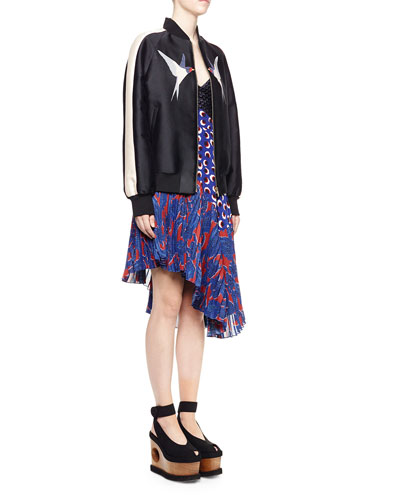Starling-Applique Bomber Jacket & Woven-Top Cutout Asymmetric Dress