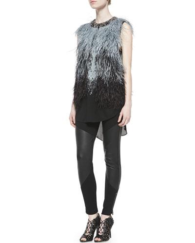 Ostrich Feather Vest W/ Embellished Neck, Chandelier Tank W/ Shirttail Hem ...