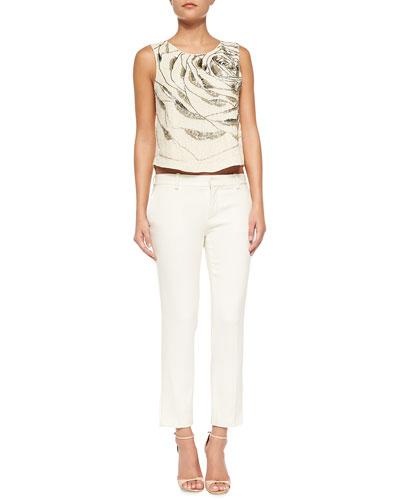 Silk Large Abstract Rose Top & Tuxedo-Stripe Skinny Pants