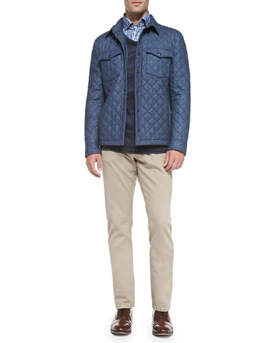Quilted Shirt Jacket, Cashmere Ombre-Stripe Sweater, Cotton-Flannel Windowpane Shirt & Straight-Leg Denim Jeans