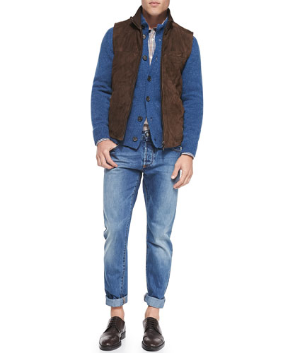 Suede Zip-Front Vest, Wool-Knit Cardigan & Double-Pocket Plaid Shirt