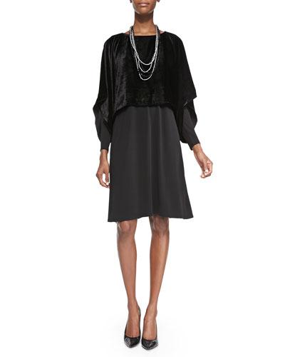 Velvet Kimono Crop Top, Sheer-Sleeve Silk Jersey Dress & Beaded Silk Cord ...