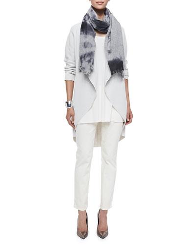 Long Silk-Cotton Interlock Oval Jacket, Wool Melange Clouds Scarf, Long ...