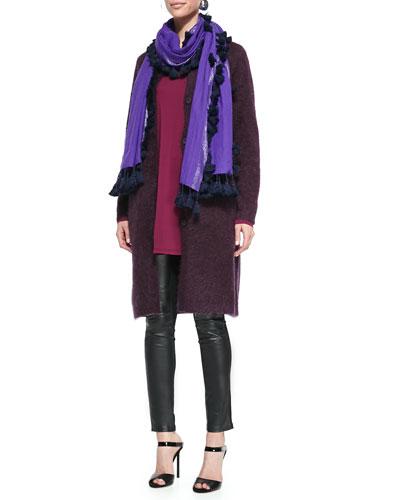 Mohair Plush Long Coat, Jersey Long-Sleeve Tunic, Tassled Shimmer Wool Wrap ...