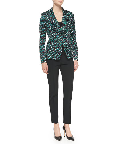 Two-Button Croc-Print Blazer, Sleeveless Shell & Skinny Trousers