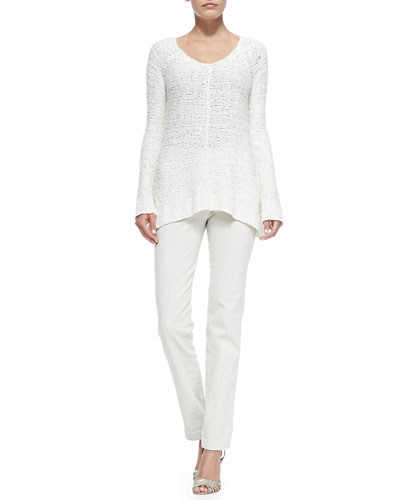 Chunky-Knit V-Neck Sweater & Mid-Rise Seamed Skinny Pants