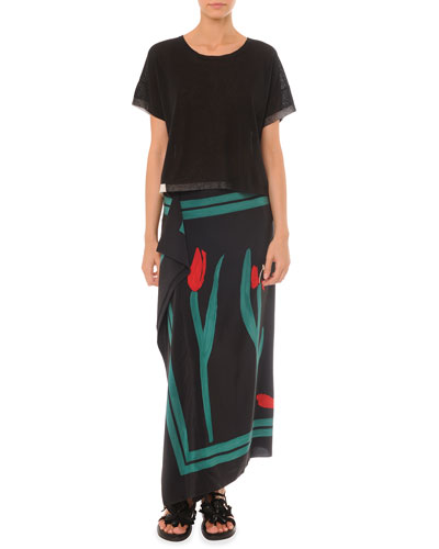 Short-Sleeve Sweater & Painted Cascade Long Skirt