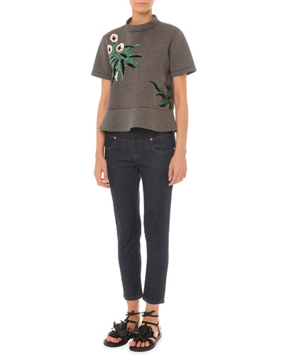 Short-Sleeve Embellished Top w/ Peplum & Drop-Yoke Ankle Jeans