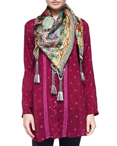Long Embroidered Tunic & Silk Georgette Retro Geometric Scarf