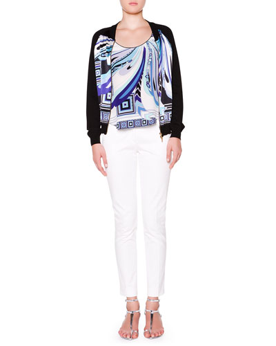 Printed-Front Bomber Jacket W/ Solid Back, Printed-Front Tank with Solid Back & Slim-Leg Pants