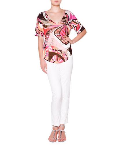 Short-Sleeve Floral Top with Metallic Studs & Slim-Leg Pants