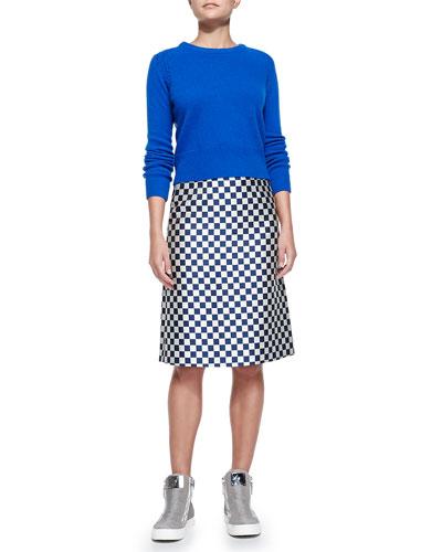 Iris Ribbed-Trim Crewneck Sweater & Checkerboard Jacquard A-Line Skirt