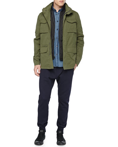 3-in-1 Military Jacket, Denim Button-Down Shirt & Knit Jogger Pants