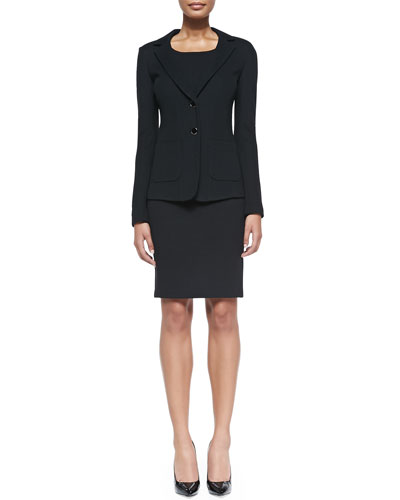 Milano Pique Knit Fitted Blazer & Scoop-Neck Dress