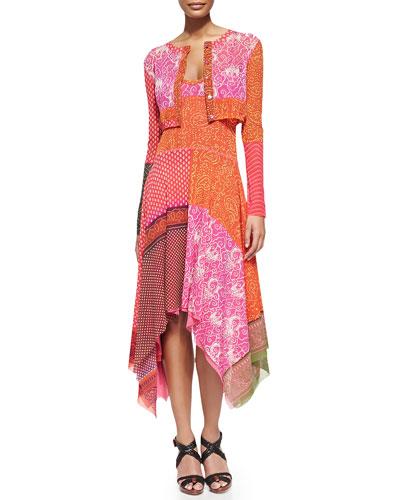 Patchwork Baby Cardigan and Handkerchief Slip Dress